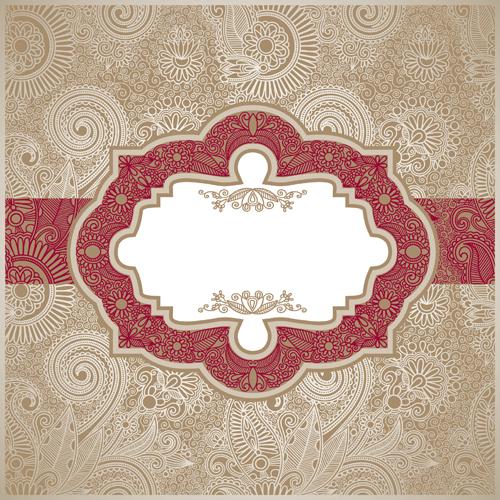 Vintage pattern elements background vector 01