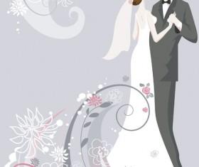 Set of Romantic Wedding vector background 01