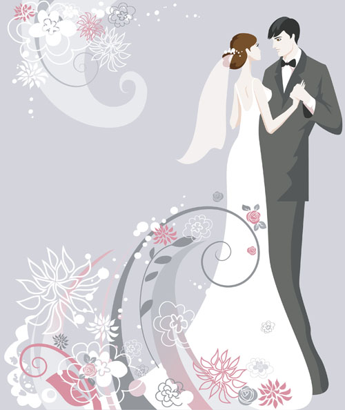 Set of Romantic Wedding vector background 01