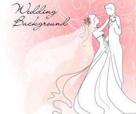 Set of Romantic Wedding vector background 02