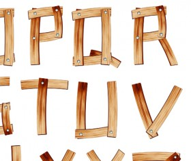 Set of Wooden alphabet numerals vector 01