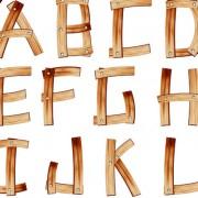 Link toSet of wooden alphabet numerals vector 02