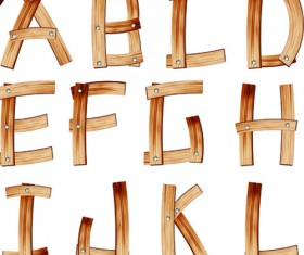 Set of Wooden alphabet numerals vector 02