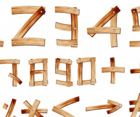 Set of Wooden alphabet numerals vector 03