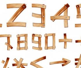 Set of Wooden alphabet numerals vector 03