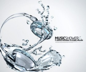 creative Water elements Music headphones Layered PSD