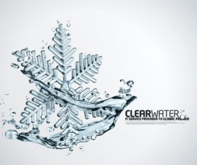 creative Water elements Snowflake Layered PSD