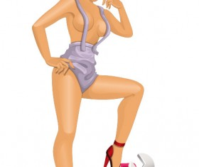 Sexy of girl worker vector 02