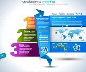 Set of Origami web design elements vector 02