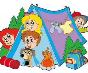 Cartoon summer camp elements Illustration vector 02