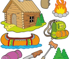 Cartoon summer camp elements Illustration vector 04