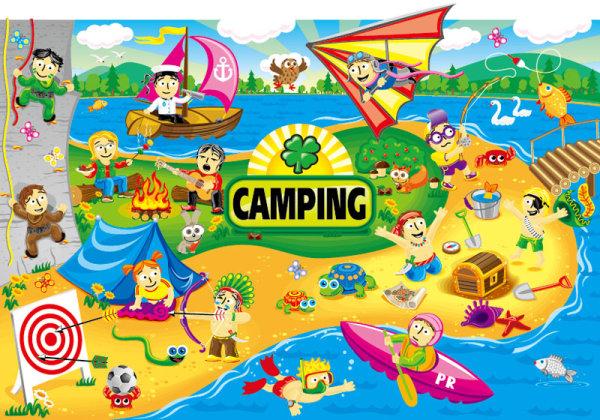 Cartoon summer camp elements Summer Camp Vector