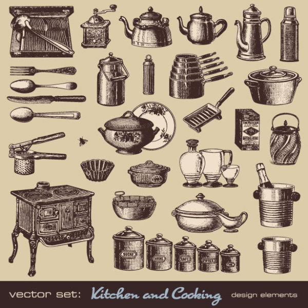 Vector Set Of Retro Kitchen And Cooking 01