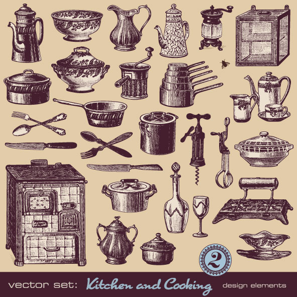 Retro Kitchen Illustration: Vector Set Of Retro Kitchen And Cooking 02