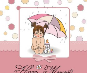 Elements of Cute little baby card vector 01