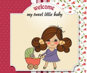 Elements of Cute little baby card vector 04