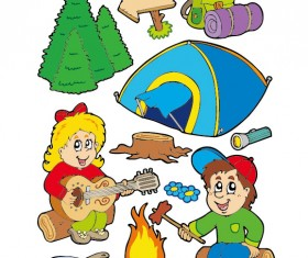 Cartoon summer camp elements Illustration vector 01