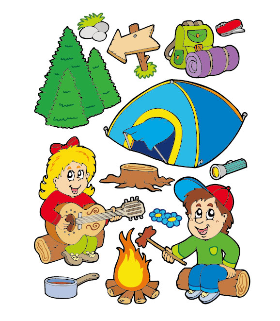 Cartoon summer camp elements