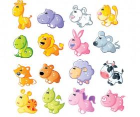 Set of Sixteen cute cartoon Animal vector