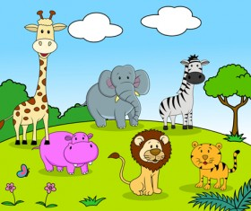 Set of Cartoon Animal Paradise vector 01