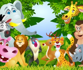 Set of Cartoon Animal Paradise vector 02