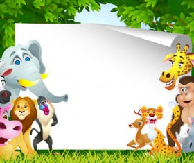Set of Cartoon Animal Paradise vector 03