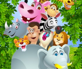 Set of Cartoon Animal Paradise vector 04