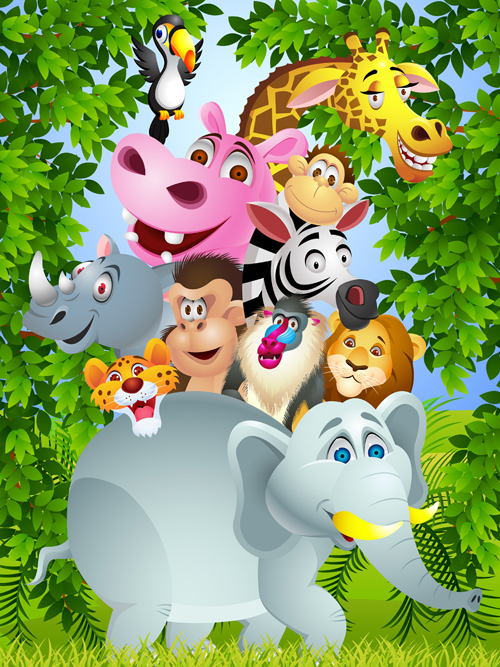 Set of cartoon animal paradise vector 04