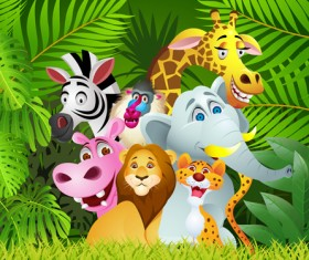 Set of Cartoon Animal Paradise vector 05