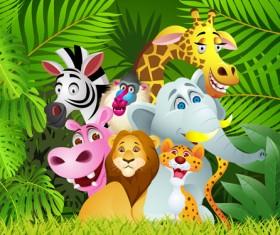 Set of Cartoon Animal Paradise vector 05