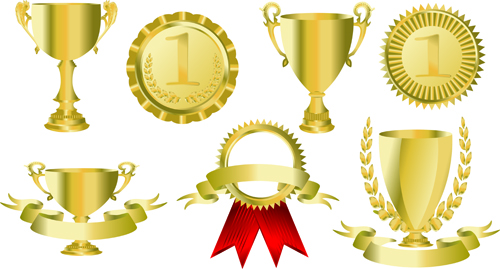 trophy cup and Medals vector set 02