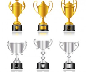 trophy cup and Medals vector set 03