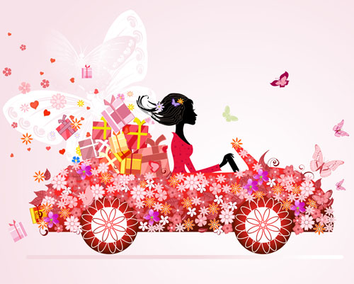 Set of floral Girls elements vector 02