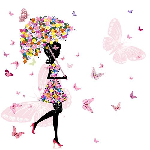 Set of floral Girls elements vector 04