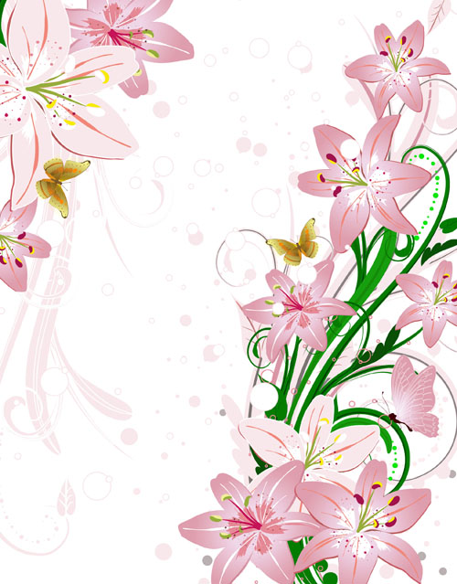 Set of with Flowers elements background vector 01 free download