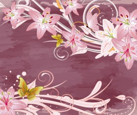Set of with Flowers elements background vector 02