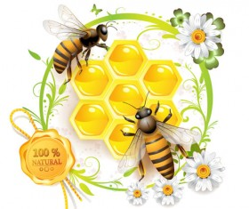 Elements of Honey and Bees vector set 02