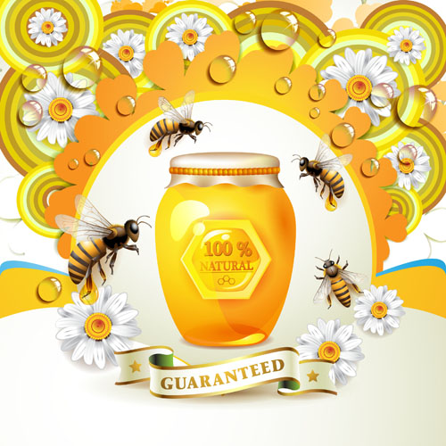 Elements Of Honey And Bees Vector Set 04 Vector Animal