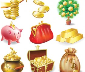 Set vector of financial elements icon 03