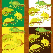Link toSet of vivid cute chameleon vector 03