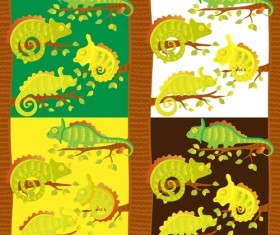 Set of vivid Cute Chameleon vector 03