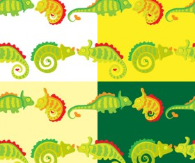 Set of vivid Cute Chameleon vector 04