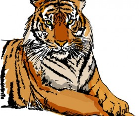 Set of tiger elements vector 05
