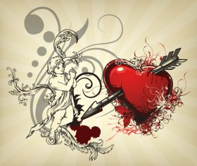 Angel and love elements vector background 01