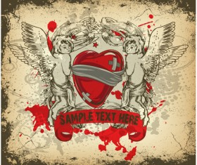Angel and love elements vector background 02