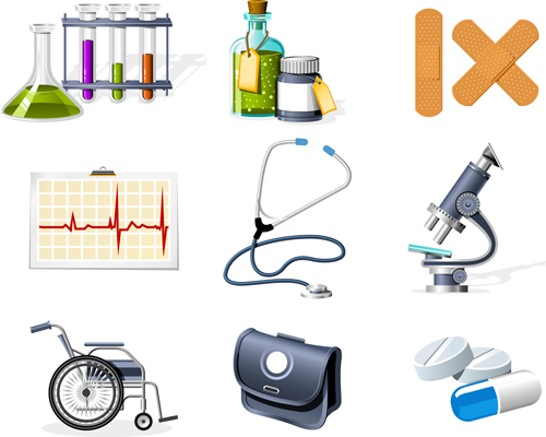 Medical elements vector collection 02