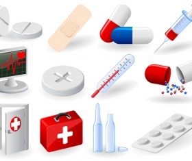 Medical elements vector collection 04