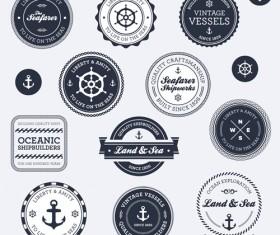 Set of Nautical labels vector 01