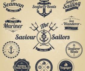 Set of Nautical labels vector 02