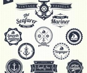 Set of Nautical labels vector 03